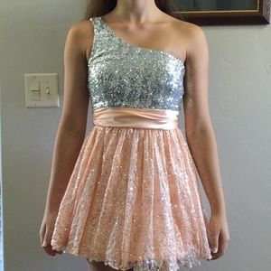 Sparkly pink and silver dress.